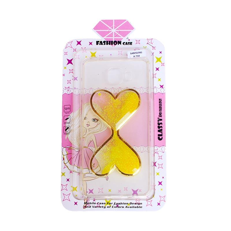 Fashion Case Gliter Love Casing for Samsung A710 - Yellow