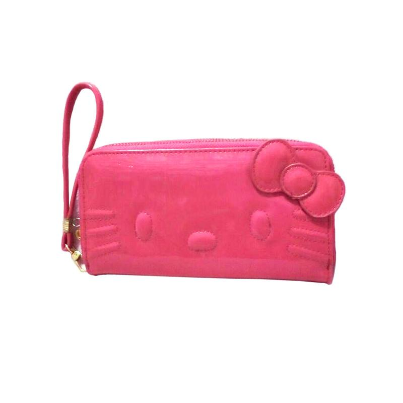Hello Kitty Dual Zipper Dompet Wanita - Pink Fanta