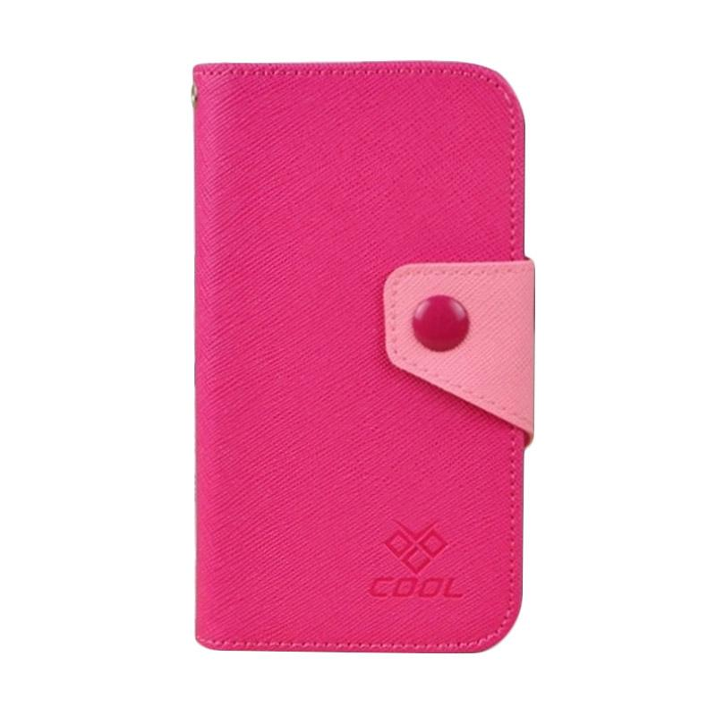 OEM Rainbow Flip Cover Casing for ZTE V5 Max - Merah Muda