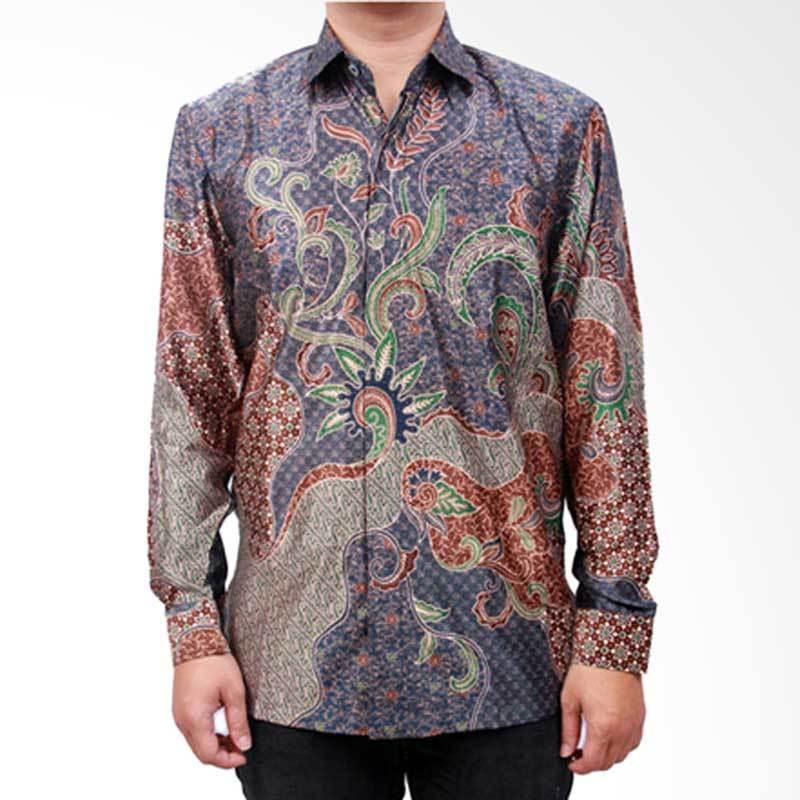 Batik Heritage Exclusive Linen Seaweed Atasan Pria - Biru