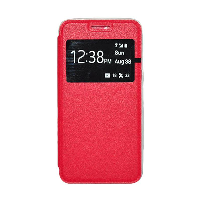 OEM Book Cover Leather Casing for Samsung Galaxy J7 - Red