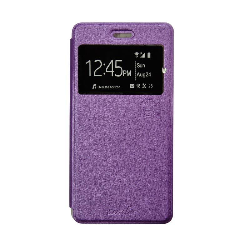 Smile Flip Cover Casing for Xiaomi Redmi Note - Ungu
