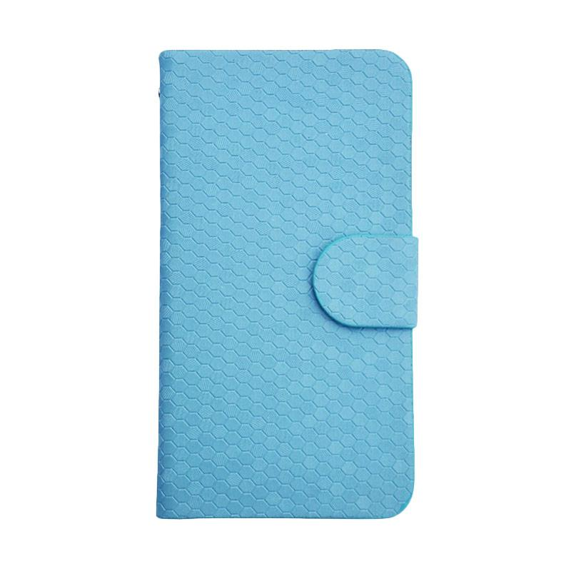 OEM Glitz Flip Cover Casing for Oppo Mirror 3 R3007 - Biru