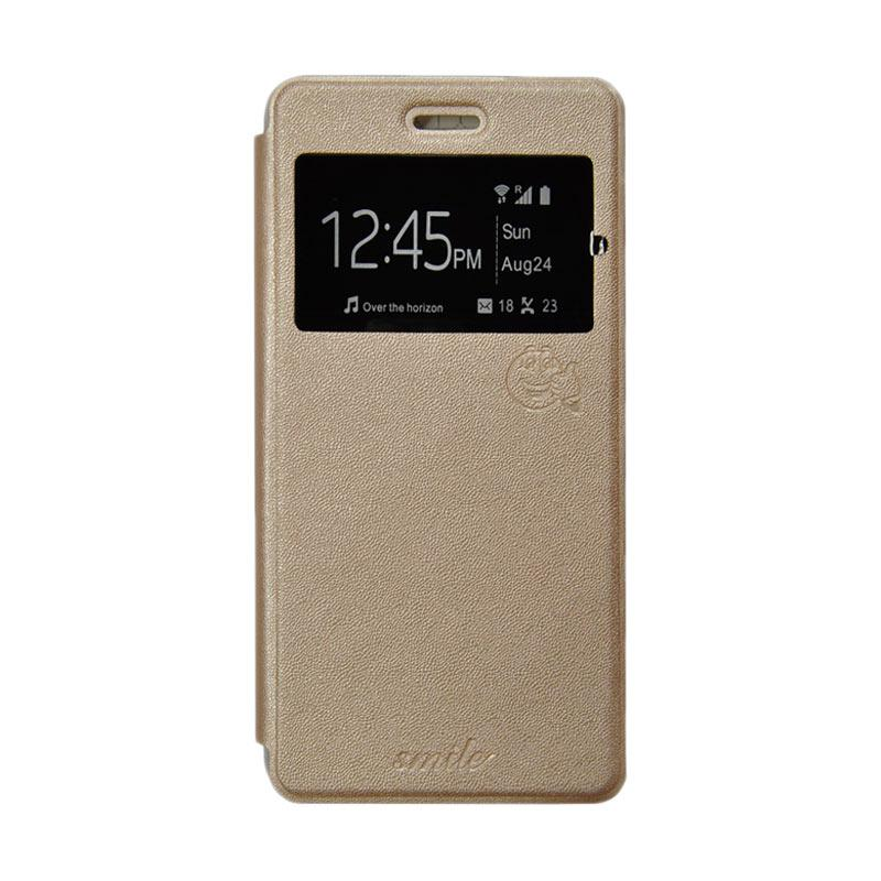 Smile Flip Cover Casing for Asus Zenfone 2 Laser ZE500KL - Gold