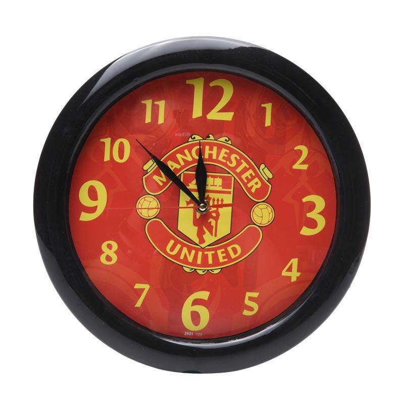 TJ Motif Manchester United y 09 Jam dinding - Ring Hitam [29cm]