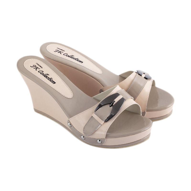 harga JK Collection JSN 1201 Sandal Wedges Wanita - Krem Blibli.com
