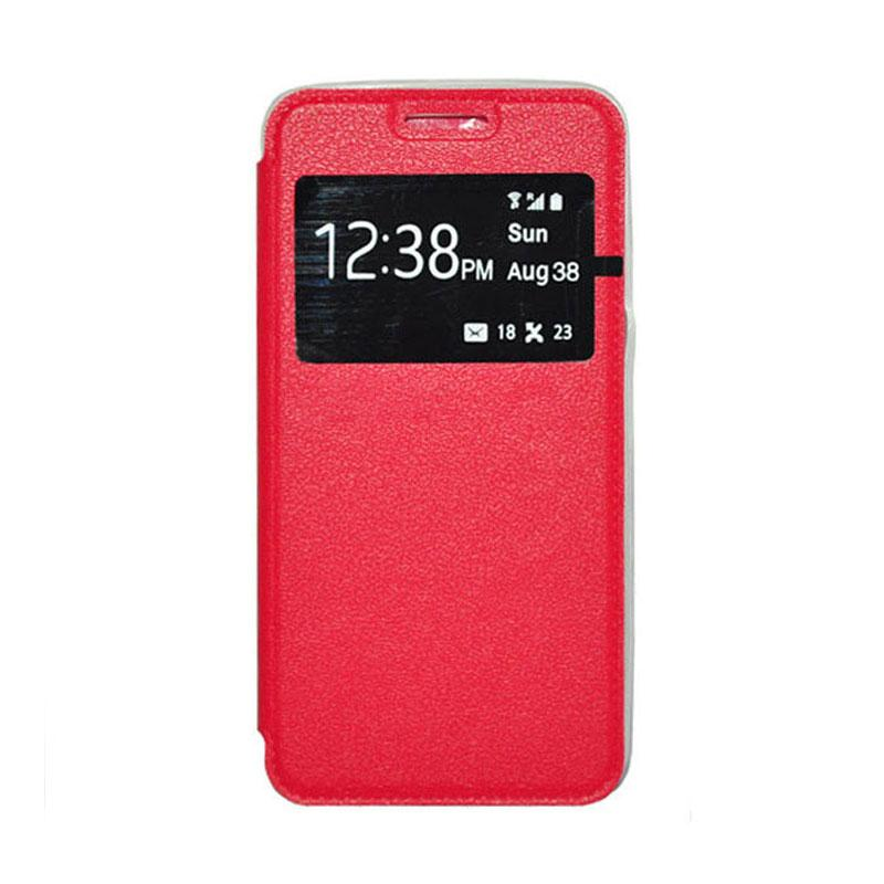 OEM Leather Book Cover Casing for Xiaomi Redmi Note - Red