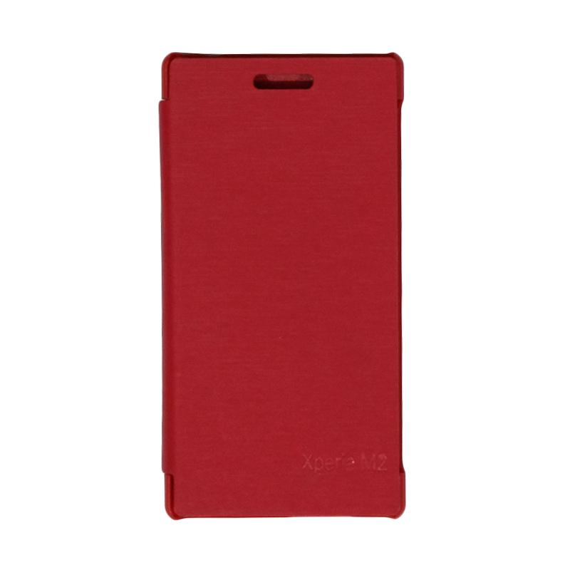 VR Leather Flip Cover Casing for Sony Xperia M2 S50H - Red