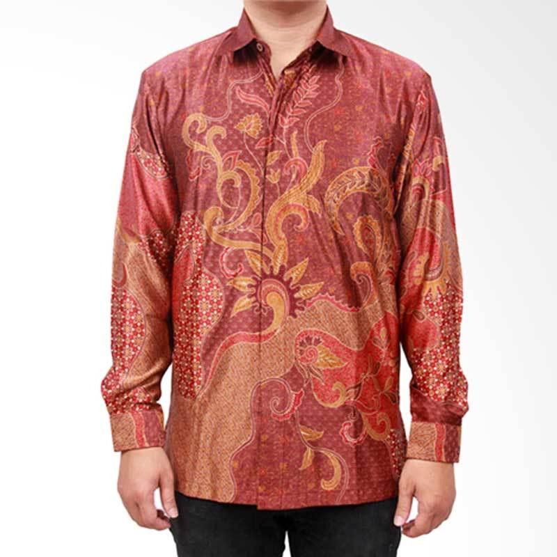 Batik Heritage Exclusive Linen Seaweed Kemeja Pria - Merah