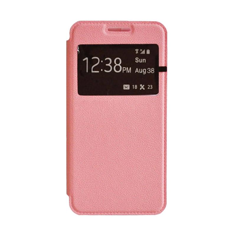 EM Book Cover Leather Casing for Samsung Galaxy E7 - Pink