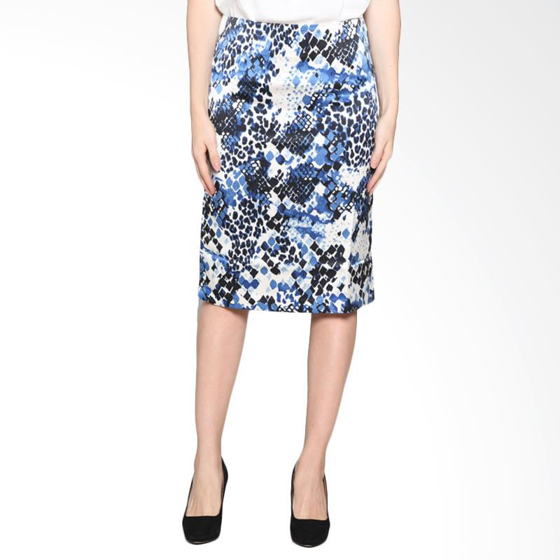 PS Career PC504FF50419 Printed Midi Skirt - Blue