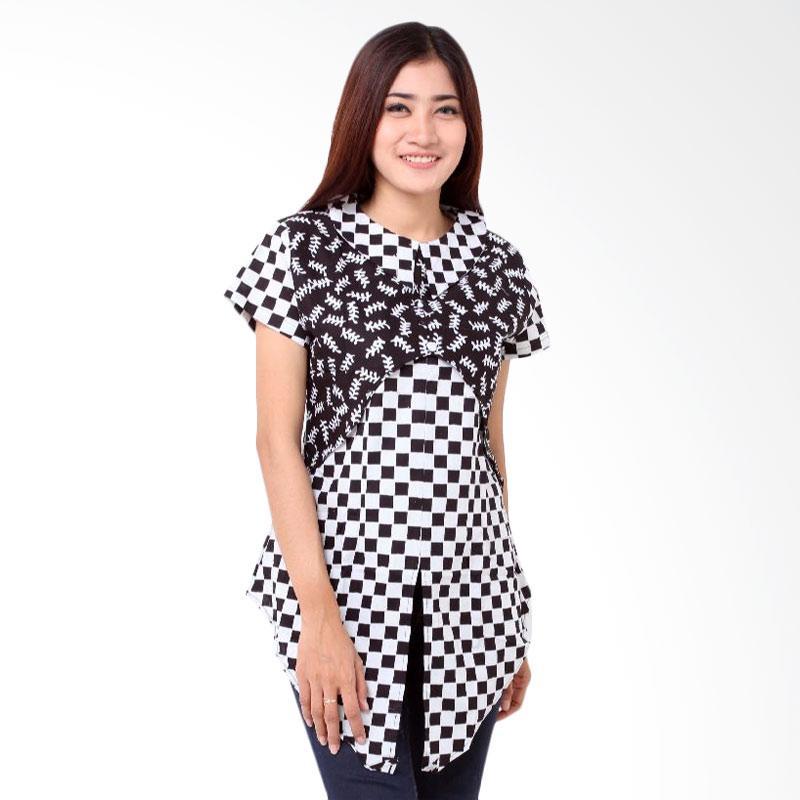 Batik Distro Pola Depan BA7777 Blouse Wanita - Hitam