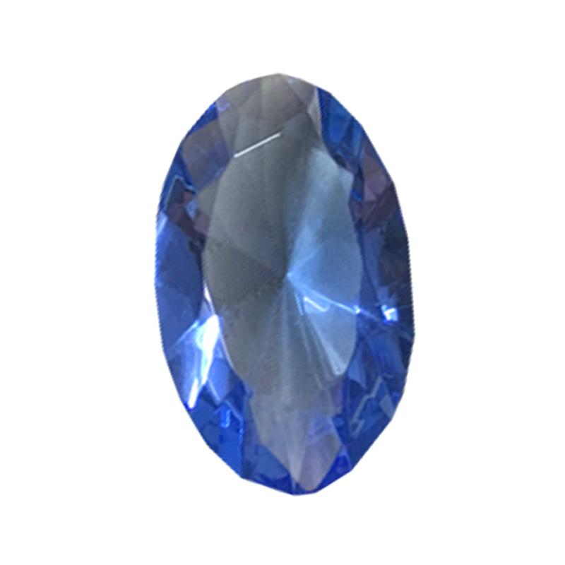 Eztu Glass Diamond Oval Kerajinan Tangan - Blue