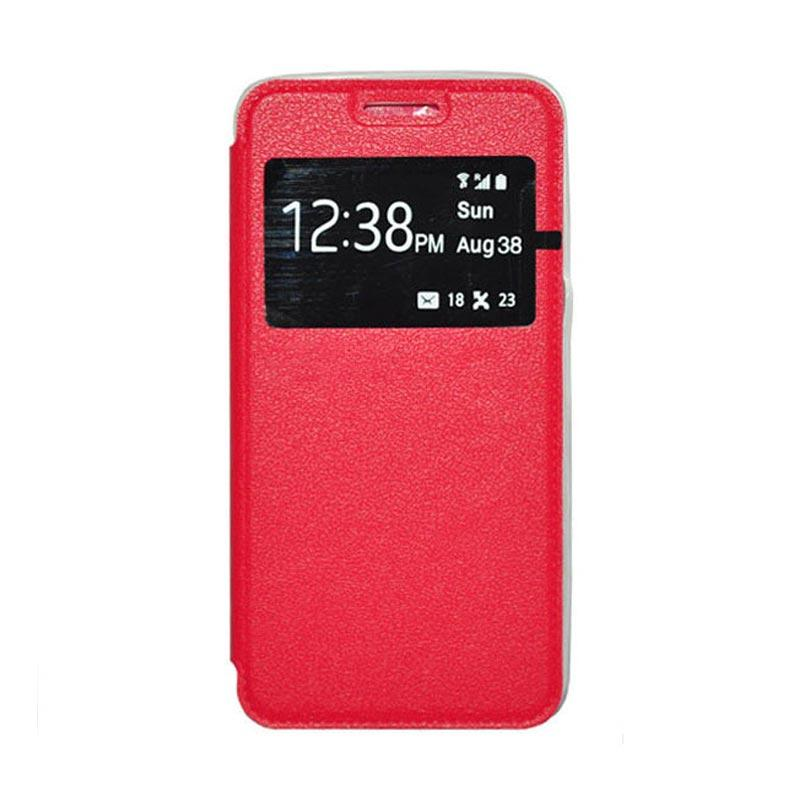 OEM Leather Book Cover Casing for Samsung Galaxy S5 - Red