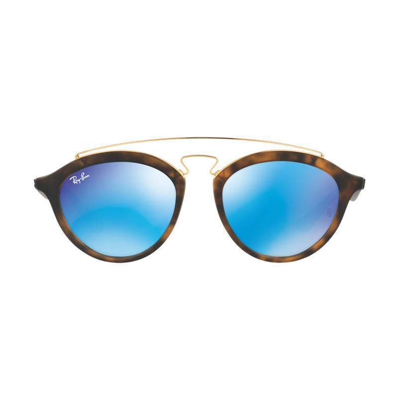 Ray-Ban - RB4257F - Matte Havana (609255) Size 51 Light Green Mirror Blue