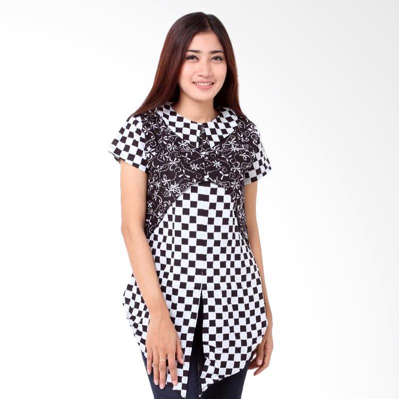 Batik Distro BA7779 Pola Depan Blus Wanita - Hitam