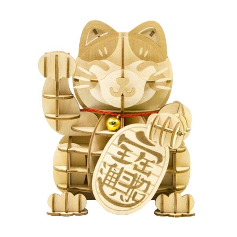 Kigumi Maneki-Neko (Lucky Cat) Puzzle Kayu 3D [Small]