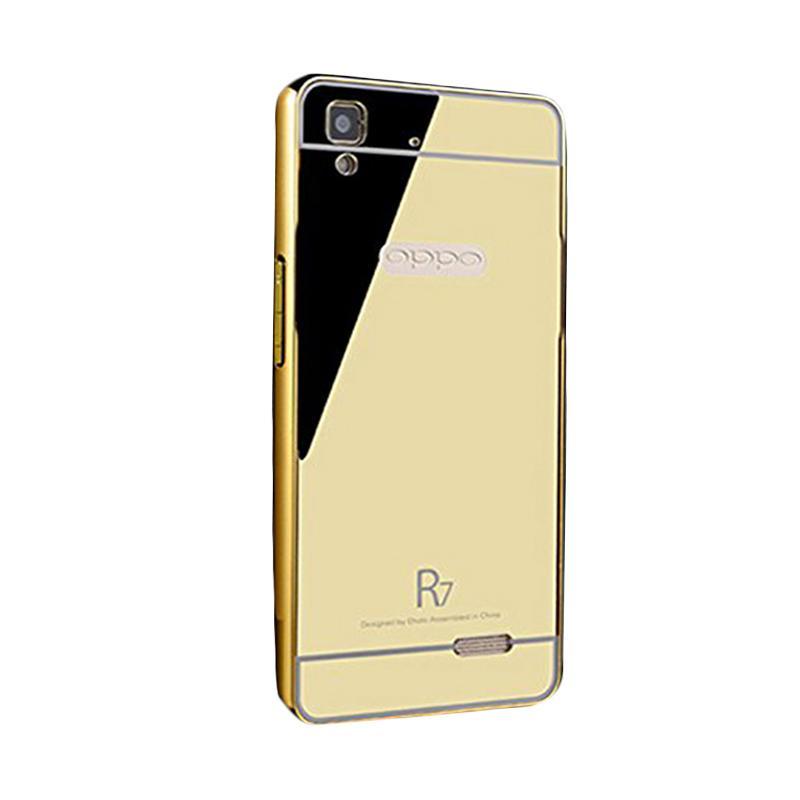 Bumper Mirror Sliding Casing for Oppo R7 - Gold