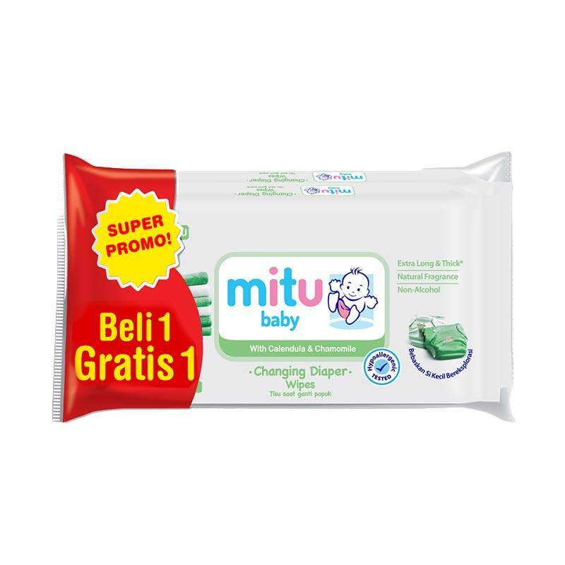 Mitu Baby Ganti Popok Wipes - White [50 Sheets/ Buy 1 Get 1]