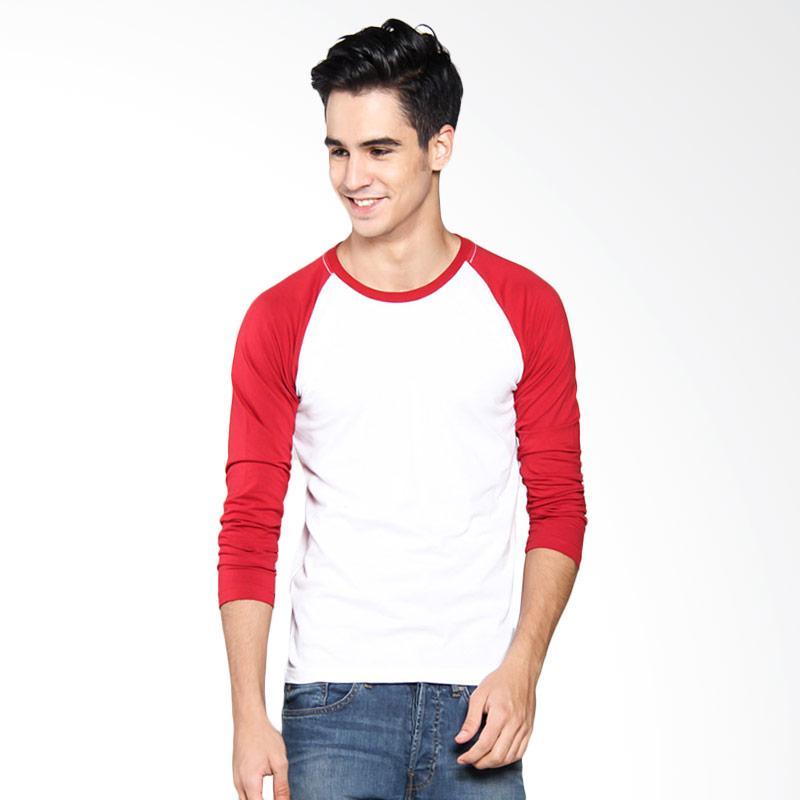 Bafash Raglan O-Neck Long Sleeve T-Shirt Pria - White Red