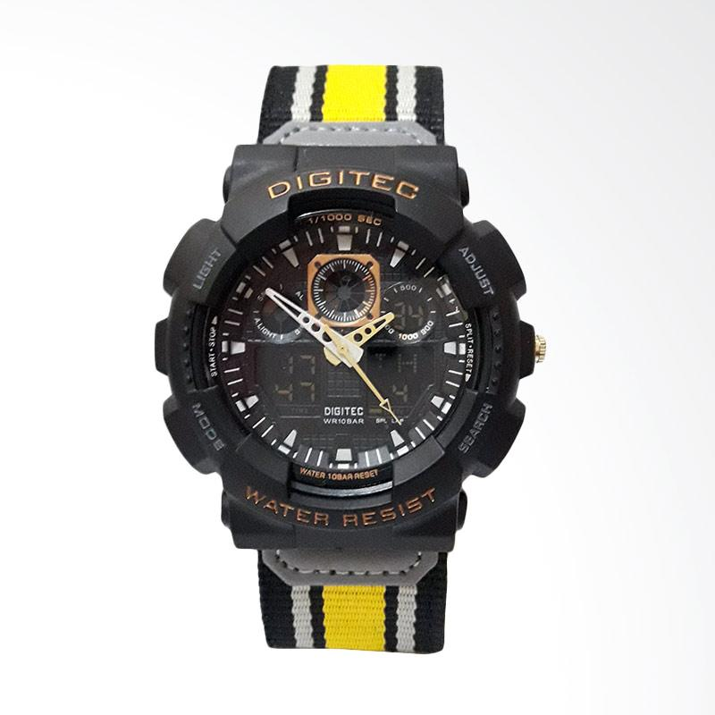 Digitec Strap Kanvas Jam Tangan Pria - Black Yellow DG2109