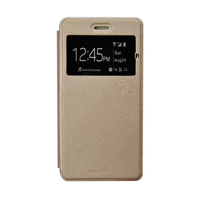 Smile Flip Cover Casing for Asus Zenfone Selfie ZD551KL - Gold