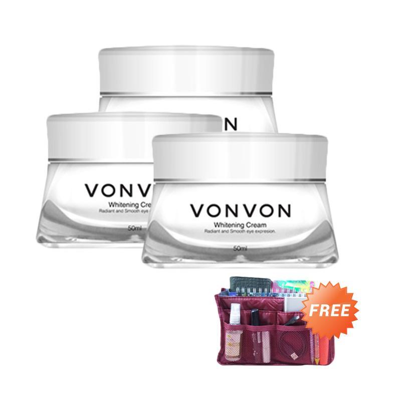 harga VONVON Whitening Cream Buy 2pcs Free 1pcs [50 mL] + Travel Pouch Blibli.com