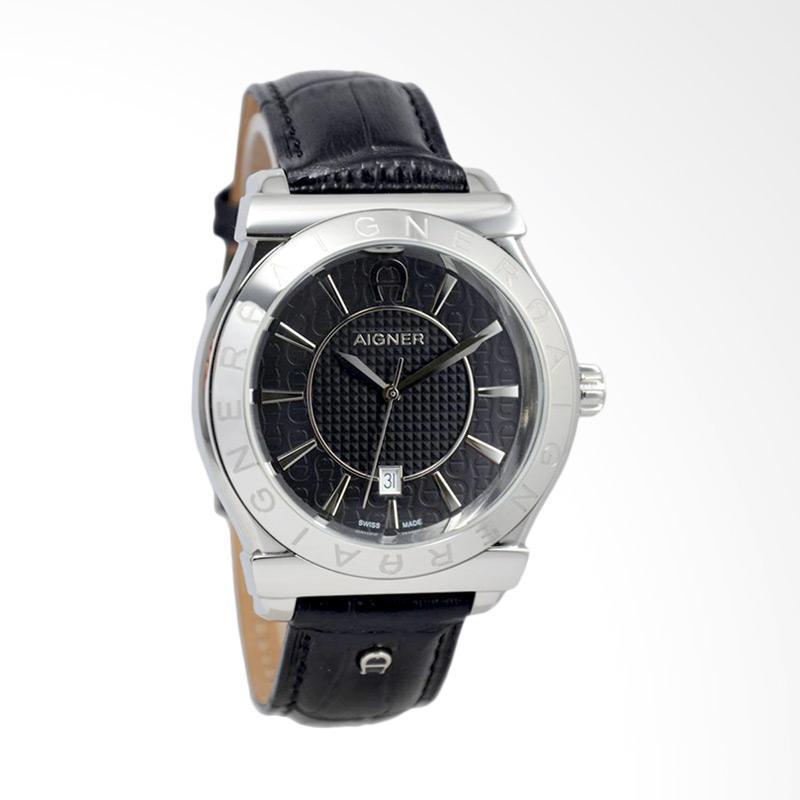 Aigner Bolzano Leather Jam Tangan Pria - Black Silver [A24115A]