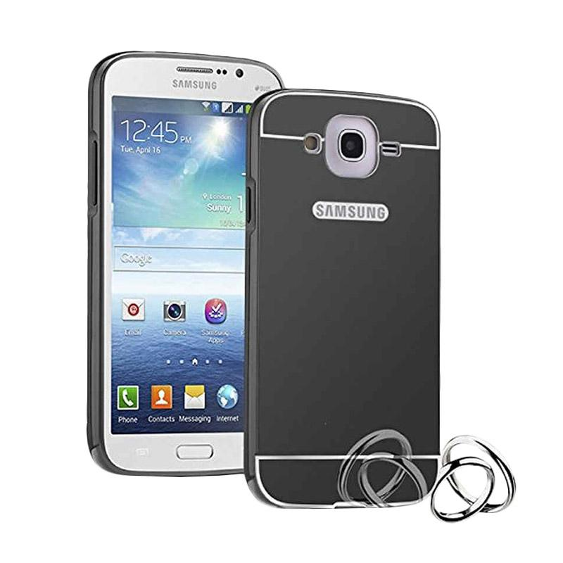 Case Bumper Metal with Back Case Sliding Casing for Samsung Galaxy A8 - Black