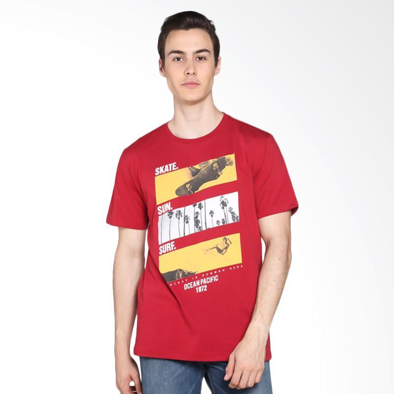 Ocean Pacific Young Mens Tshirt - Maroon 03MTY08274