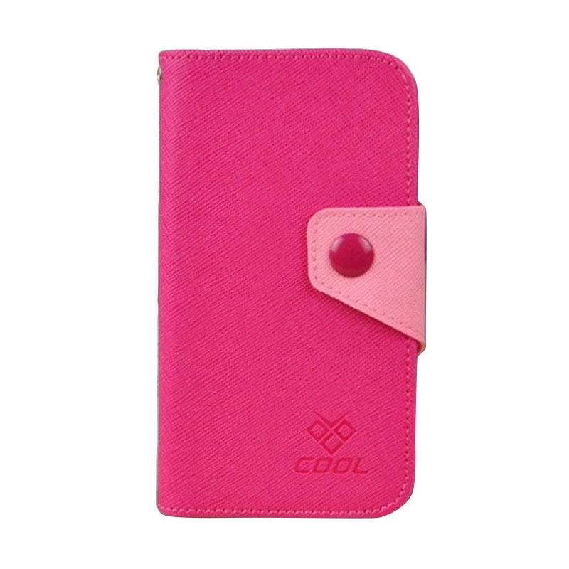 OEM Rainbow Flip Cover Casing for HTC Desire E9 - Merah Muda