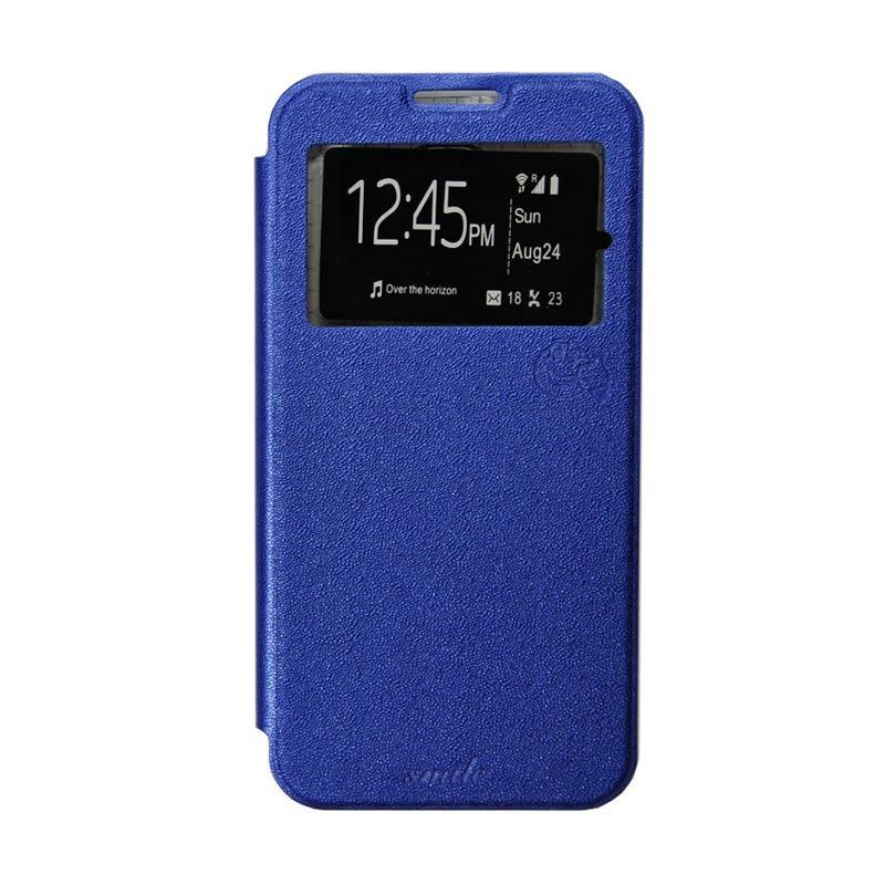 Smile Flip Cover Casing for Samsung Galaxy Note 4 - Biru Tua