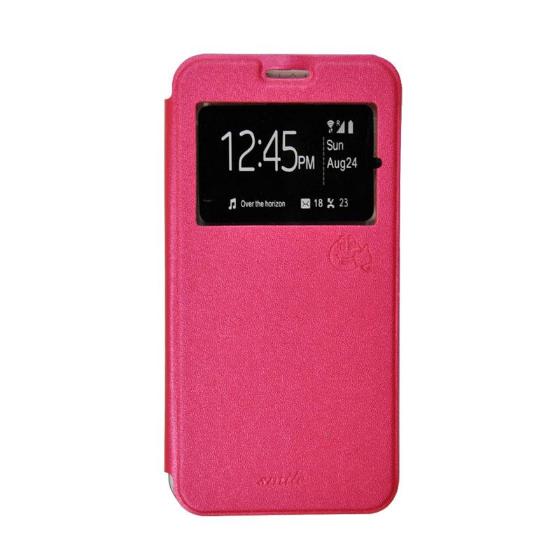 Smile Flip Cover Casing for Oppo Mirror 5 A51 - Hot Pink