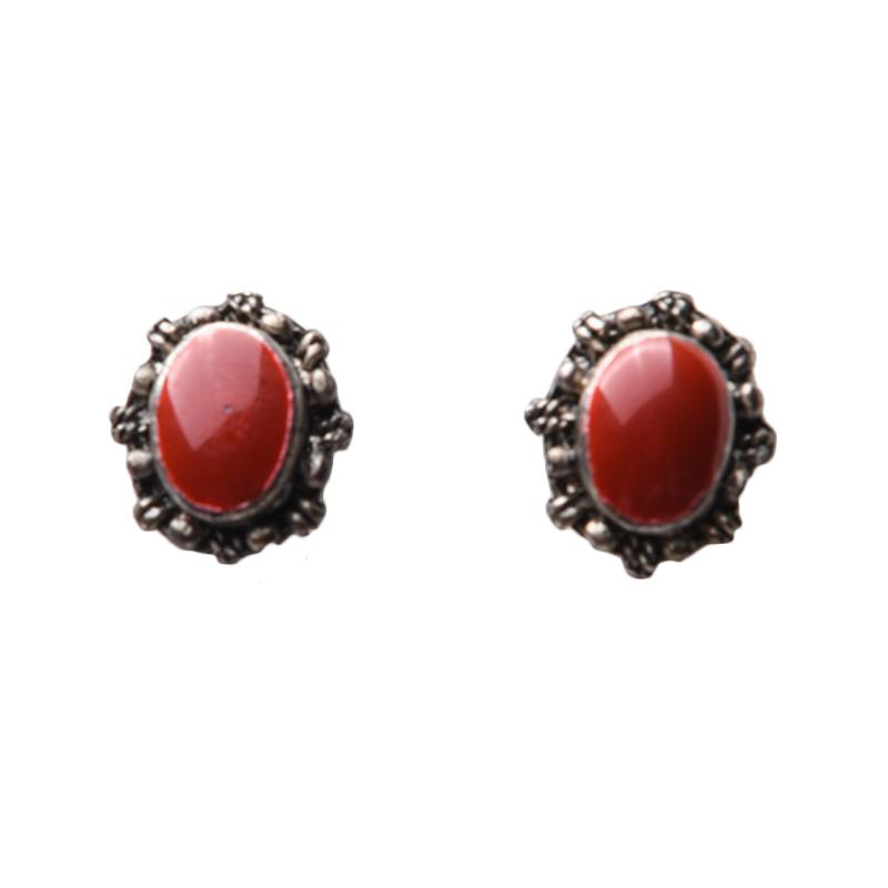 1901 Jewelry G0240049RD Vintage Frame Studs Anting- Merah