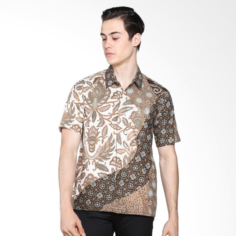 Batik Rengganis Warna Alam Kemeja Pria - Coklat
