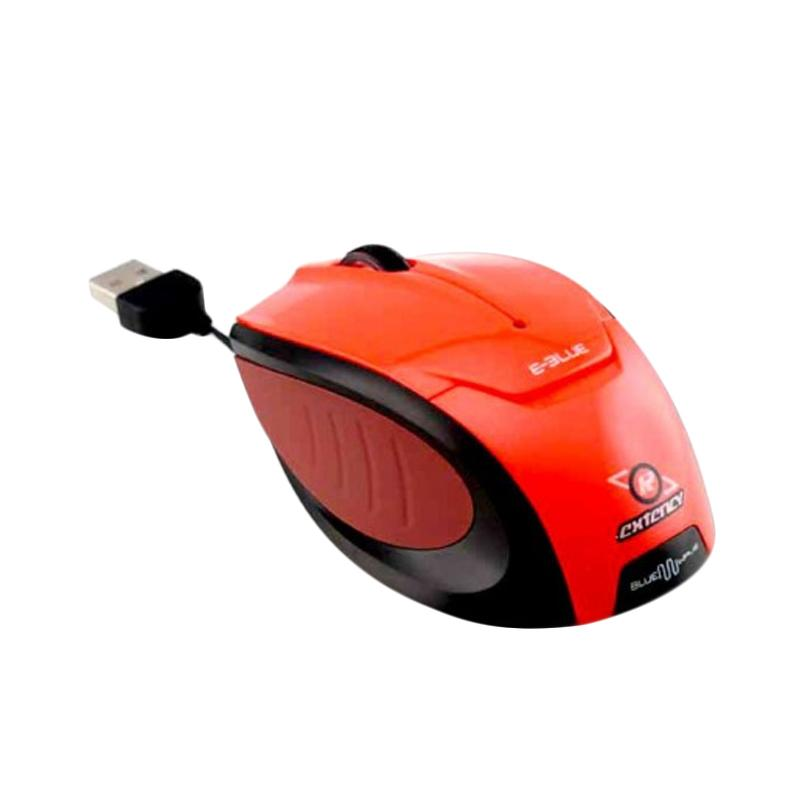 E-Blue Extency Retracable Bluewave Optical Mouse - Red
