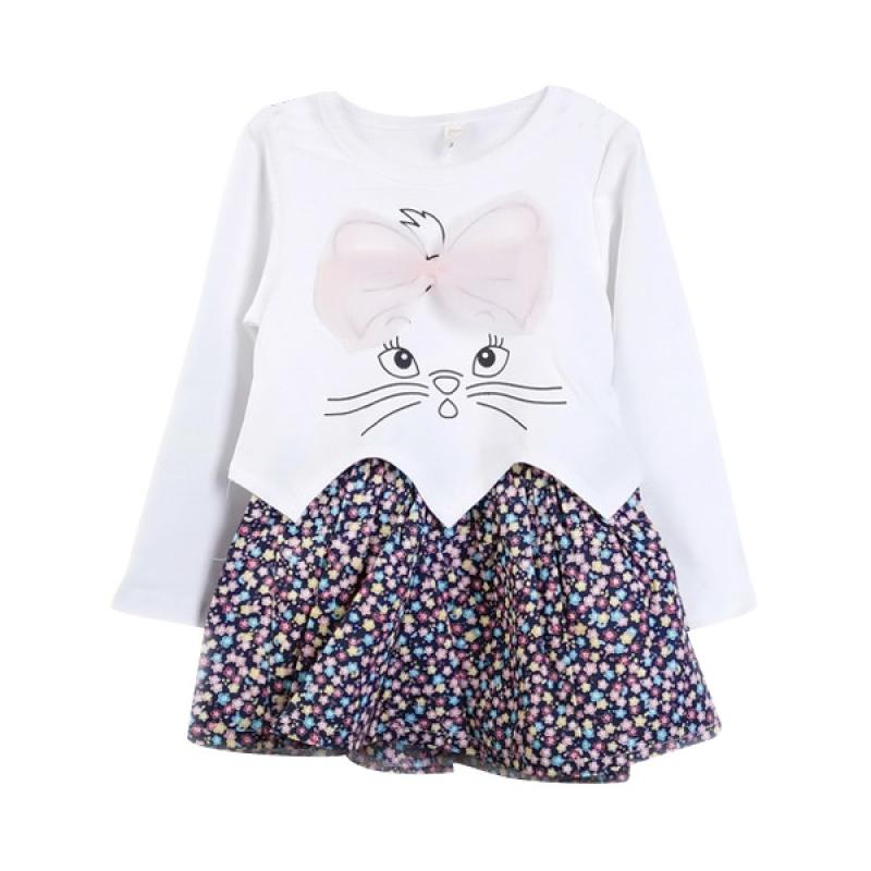 Chloebaby Shop F977 Flower Rabbit Dress - White