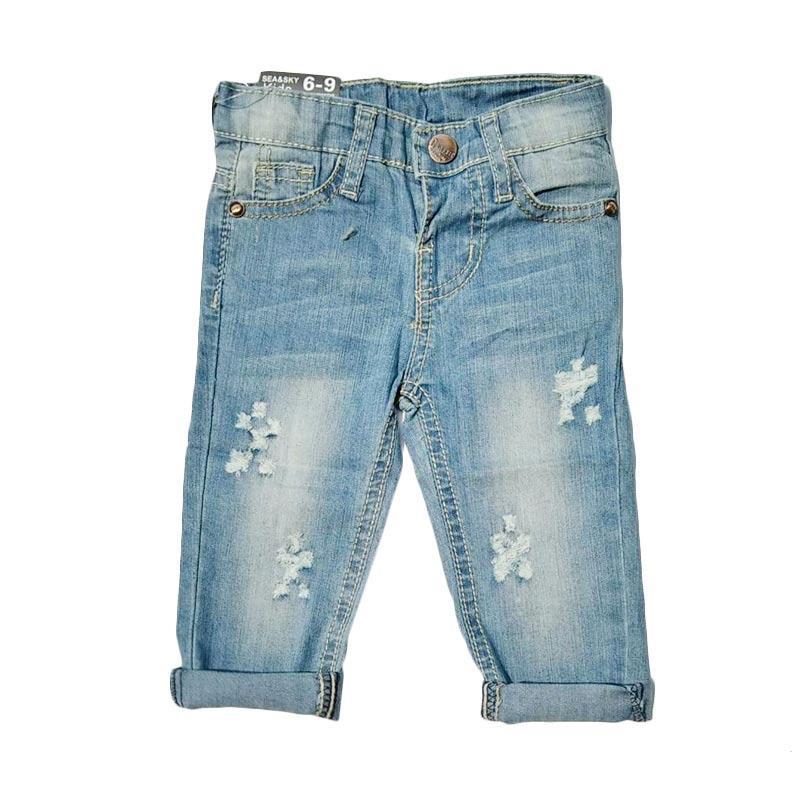 Chloebaby Shop f1051B Star Celana Ripped Jeans Anak