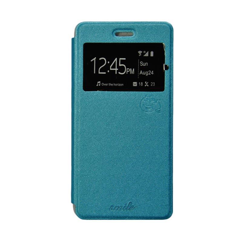 Smile Flip Cover Casing for Samsung Galaxy Grand 2 - Biru Muda