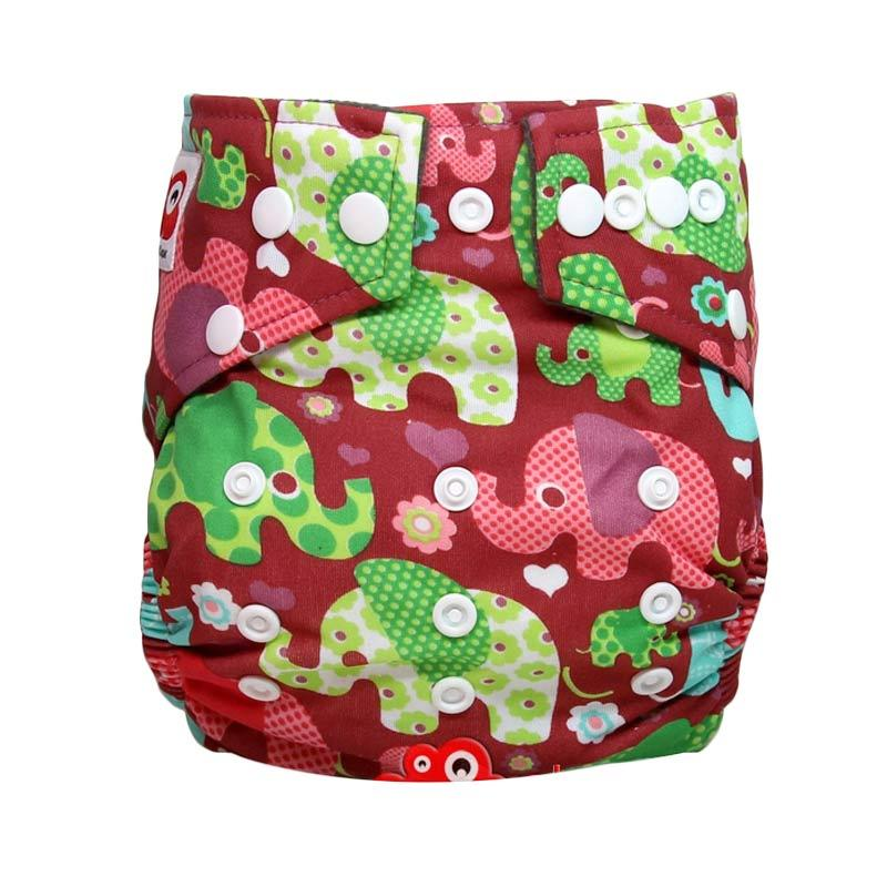 Clothcodile Charchoal - Bamboo Diaper + 2ins Elephant