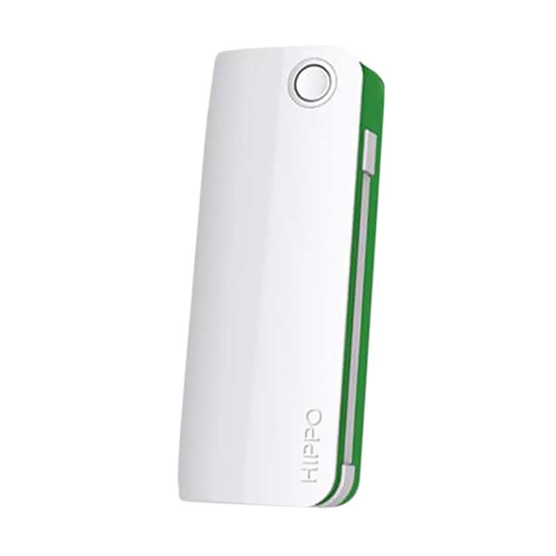 Hippo Snow White 2 Powerbank - Putih List Hijau [6000 mAh]
