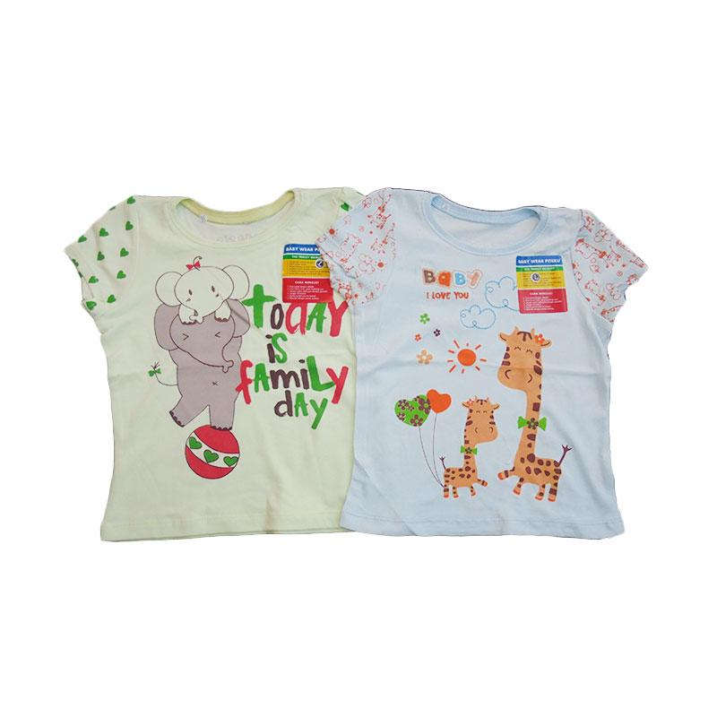 Girl Shirt Piteku Family Day dan Giraffe - Hijau Biru