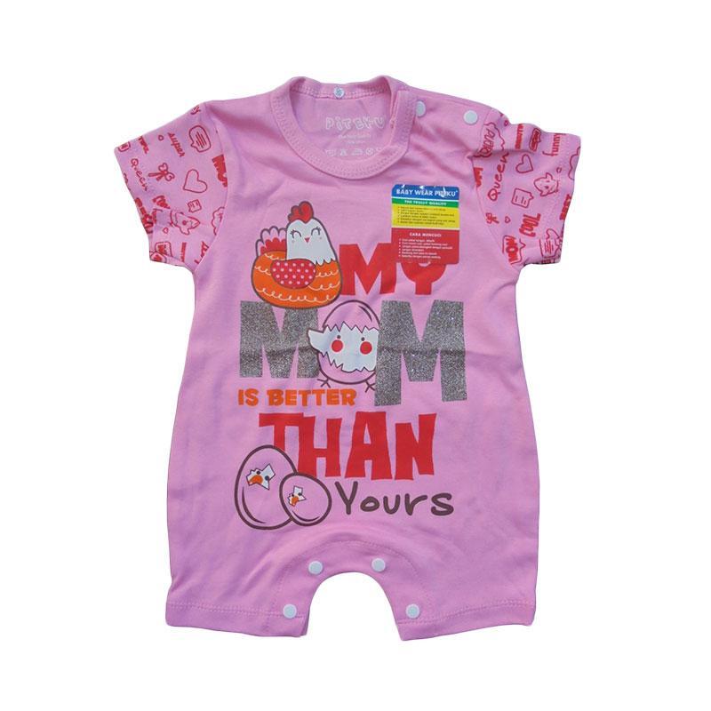 Piteku My Mom Hansop Pendek Jumpsuit Bayi - Pink