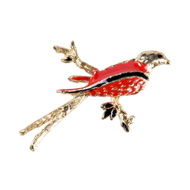 1901 Jewelry Lily Birdy Brooch 2481 BR.2481.HR22RD-BK Bros - Red