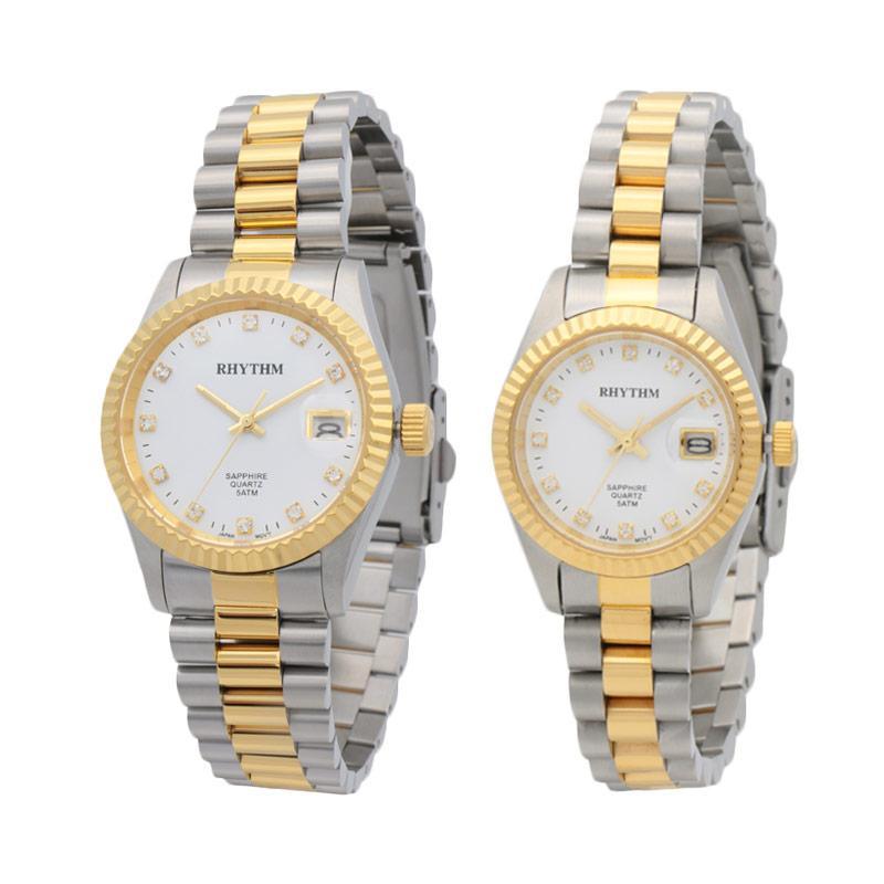 Rhythm RQ1609S 03 & RQ1610S 03 Jam Tangan Couple - Silver Gold