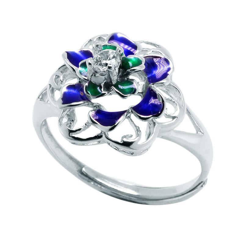 Anna Silver Flower SWR-0004 Ladies Ring - Blue Green