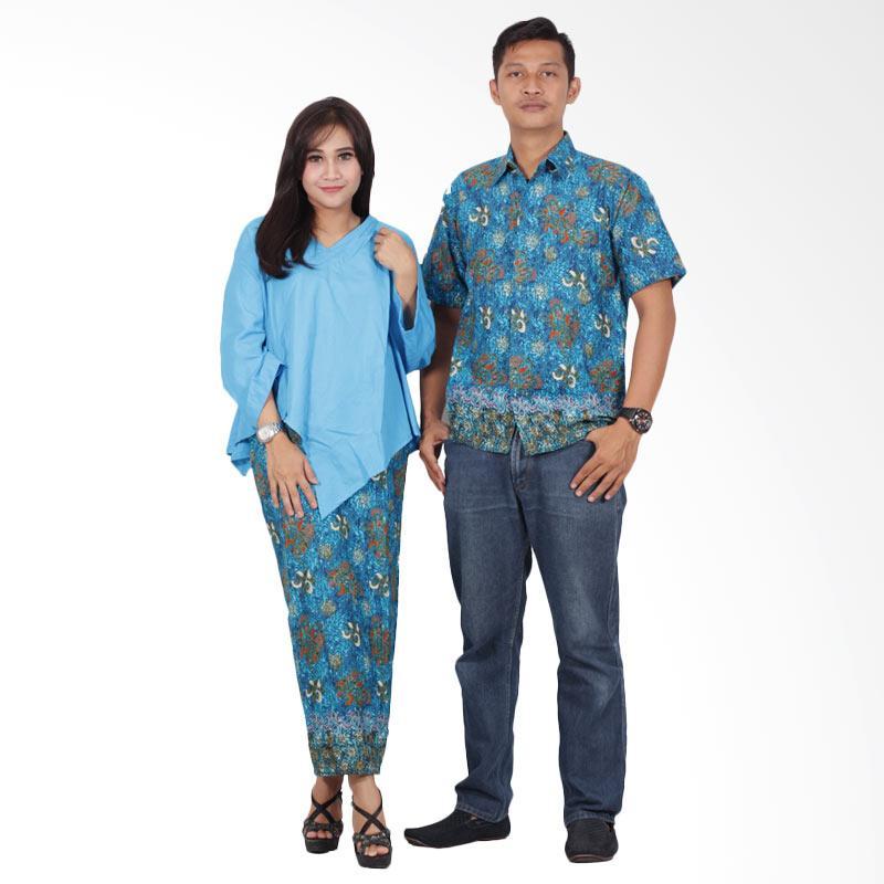 Batik Putri Ayu Solo srd201 Batik Couple Sarimbit Dress - Biru Laut