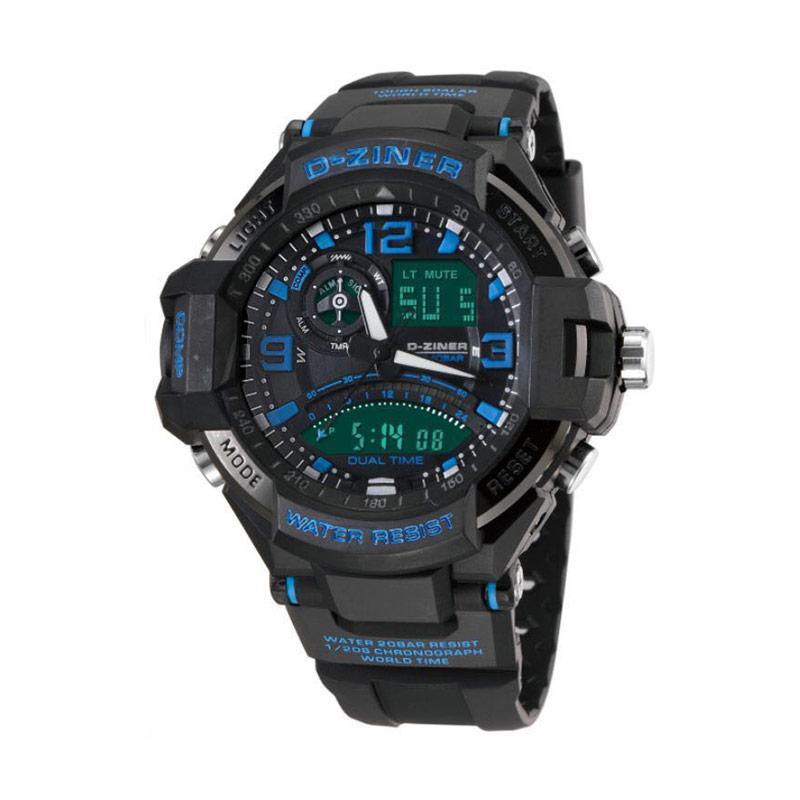 D-Ziner DZ0322 Dual Time Jam Tangan Pria - Hitam List Biru