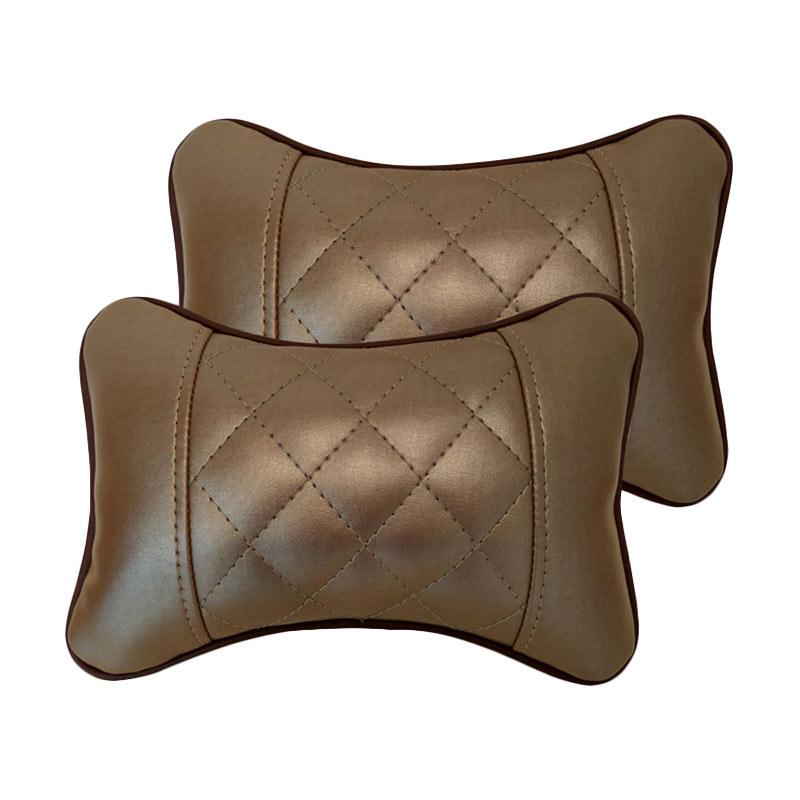 GL Motif Wajik Kulit Sintetik Bantal Mobil - Light Brown