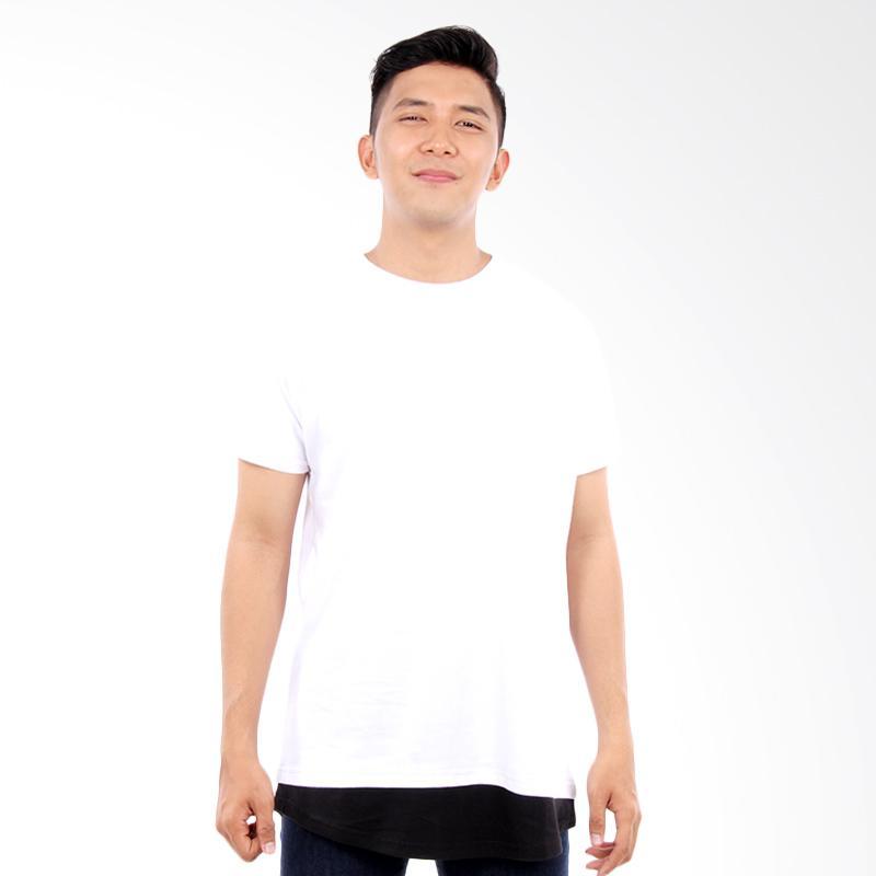 Word.o Layer T-shirt Lengan Pendek Kaos Pria - Putih